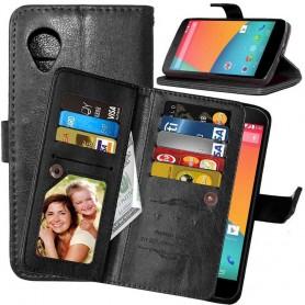 Mobiili lompakko Double Flip Flexi 8 -kortti LG Nexus 5 E980