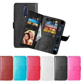 Dubbelflip Flexi 9kort Nokia 8 mobilplånbok mobilskal fodral skydd väska