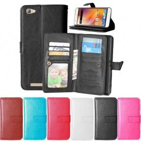 Dubbelflip Flexi 9kort ZTE Blade A610 mobilplånbok fodral väska mobilskal