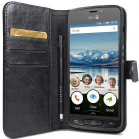Doro Liberto 8040 Wallet Case mobilskal plånbok väska fodral 2i1 magnetisk Svart