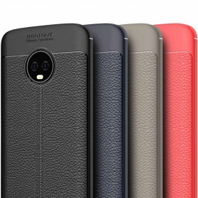 Läder mönstrat TPU skal Motorola Moto G6 Plus mobilskal