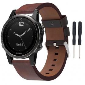 Läder Armband Garmin Fenix 5S (Brun)