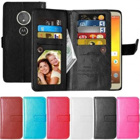 Dubbelflip Flexi 9-kort Motorola Moto E5 mobilskal fodral väska
