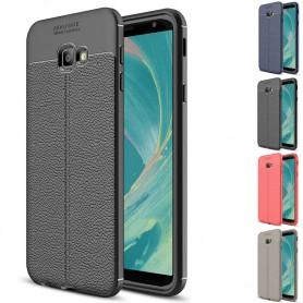 Läder mönstrat TPU skal Samsung Galaxy J4 Plus 2018 (SM-J415F)