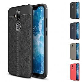 Lærmønstret mobiltelefonveske TPU deksel Nokia 8.1 2018 (TA-1128)