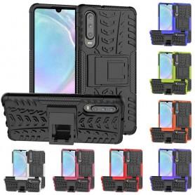 Støtsikker skall med stativ Huawei P30 mobil skallbeskyttelse silikonhylster kaseonline