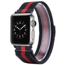 Apple Watch 42 Armband Milanese - Svart/Röd
