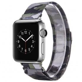 Apple Watch 42mm Series 1,2,3 Armbånd Milanese Camo - Grønn