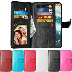 Dobbel klaff Flexi 9-kort Motorola One (XT1941) mobil deksel lommebok