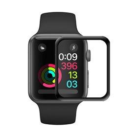 3D Curved Glas skärmskydd Svart Apple Watch 42mm series 1 2 3