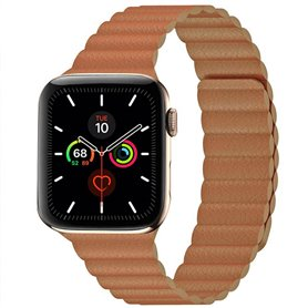 Apple Watch 5 (44mm) Leather loop band - Brun