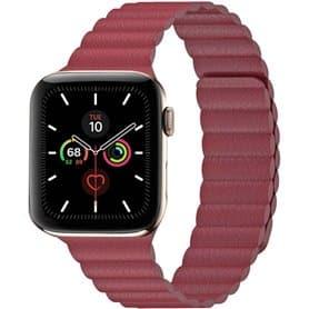 Apple Watch 5 (44mm) Leather loop band - Vinröd