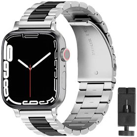 Armband Stainless Steel Apple Watch 7 (45mm) - Silver/Black